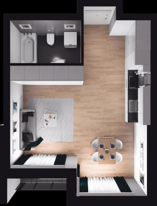 Lokal mieszkalny - 1 pokój z kuchnią
