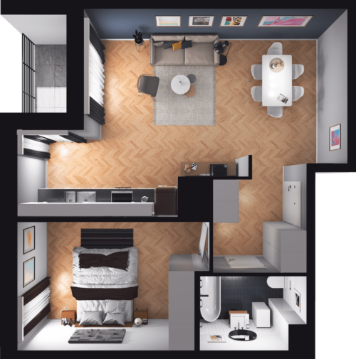 Lokal mieszkalny - 2 pokoje z kuchnią