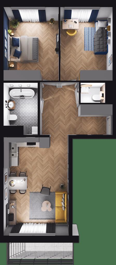 Duży balkon, w salonie duże okna, przestronne, ustawne sypialnie, oddzielna łazienka i WC
