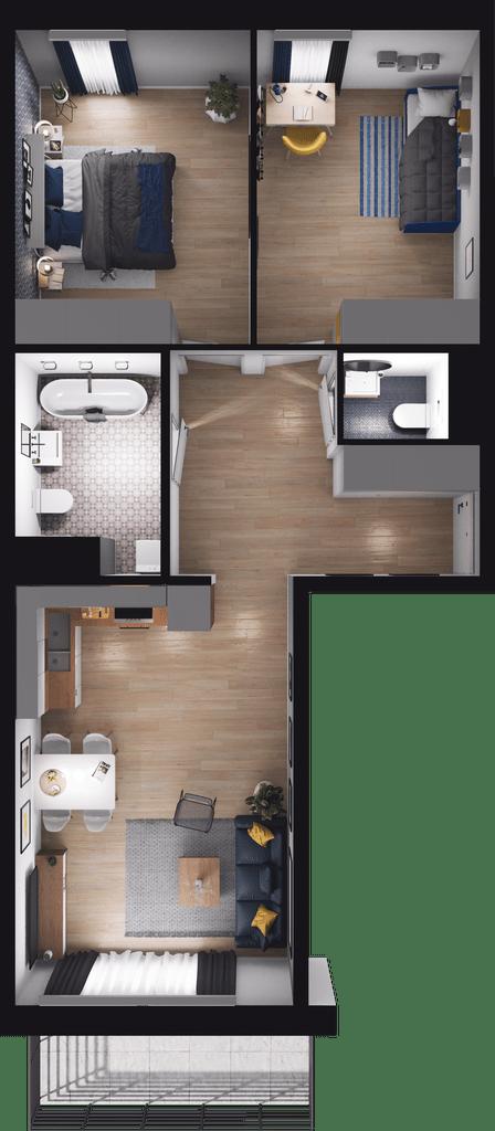Lokal mieszkalny - 3 pokoje z kuchnią